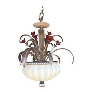 Mid Century Modern Floral Chandelier For Sale