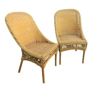 Wicker Curved Back Side Chair - a Pair For Sale