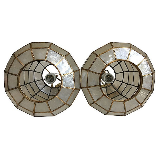 Brass Capiz Shell Lanterns - a Pair For Sale - Image 7 of 9