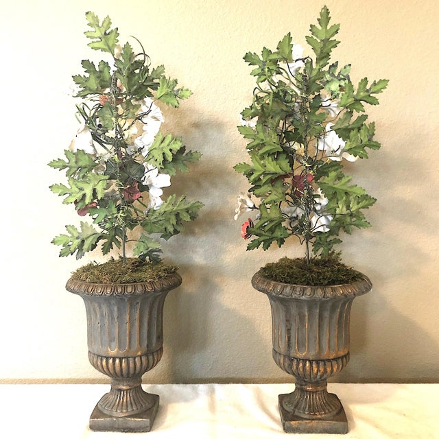 Vintage French Tole & Porcelain Flower Topiaries in Urns - a Pair For Sale - Image 9 of 11