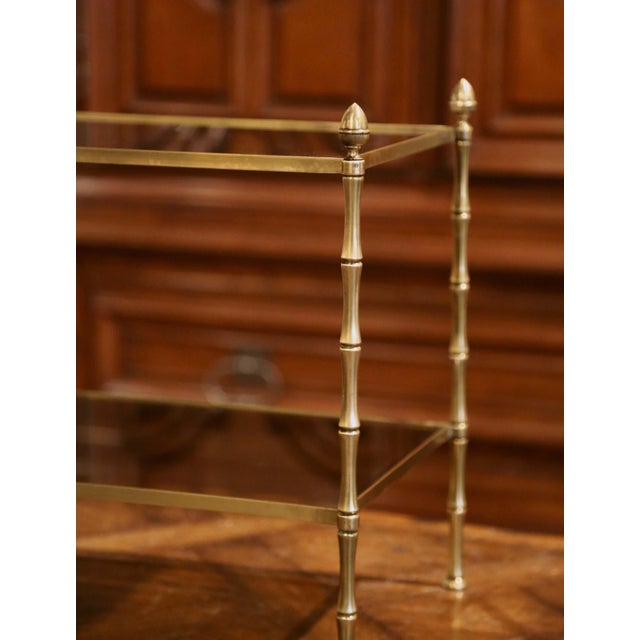 Mid 20th Century Mid-French Bamboo Brass and Glass Table Style Maison Baguès, Paris For Sale - Image 5 of 6