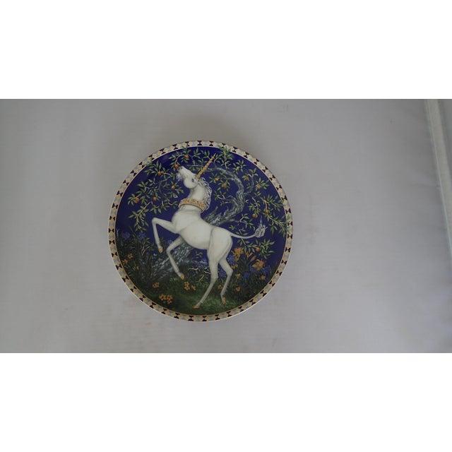 "Decorative Wall Plate ""Unicorns In A Dreamer's Garden"" Design by Charlotte & William Hallett, Makers mark reads..."