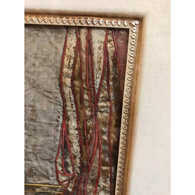 19th Century French Interior Scene Collage of Silk and Paper For Sale In Philadelphia - Image 6 of 9