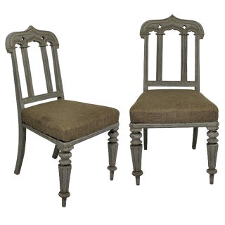 19th Century English Gothic Painted Chairs - a Pair