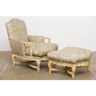 20th Century French Country Bergere Armchairs With Ottoman - 3 Pieces Preview