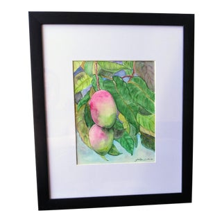 """""""Hawaii Mango Tree"""" Contemporary Botanical Watercolor Painting, Framed For Sale"""