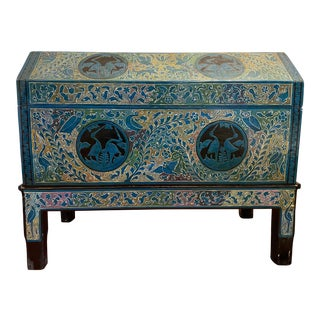 Mexican Inspired Vintage Blanket Chest For Sale