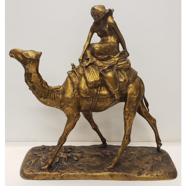 Metal Late 19th Century French Gilt Bronze Bedouin Camel Rider Sculpture For Sale - Image 7 of 7