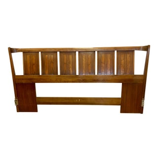 Mid Century King Walnut Headboard by Thomasville For Sale