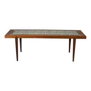 Rosewood and Green Tile Coffee Table For Sale