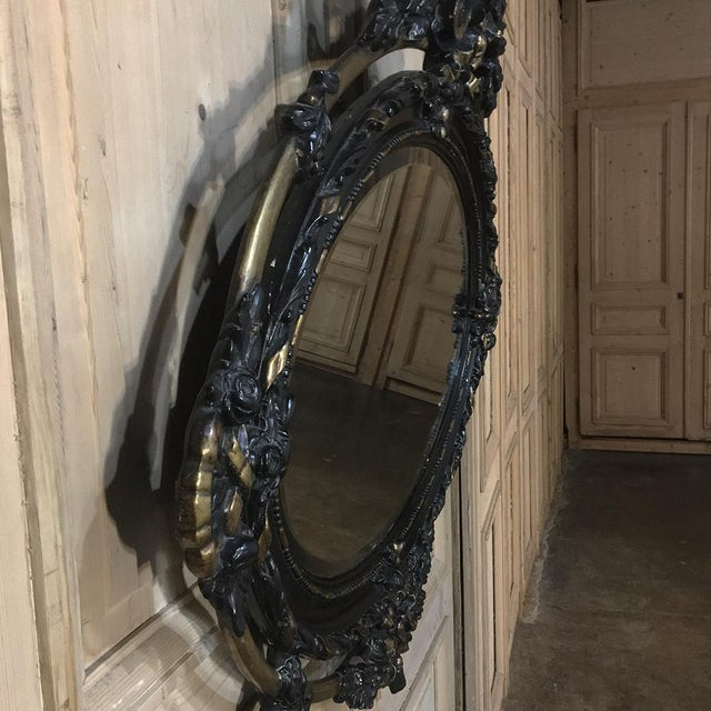 Fruitwood Antique French 19th Century Louis XVI Oval Mirror For Sale - Image 7 of 11