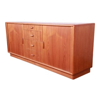 Danish Modern Teak Tambour Door Sideboard Credenza by Dyrlund For Sale