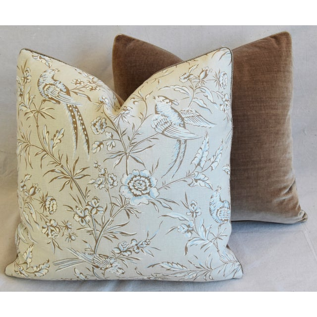 """Scalamandre Aviary & Velvet Feather/Down Pillows 21"""" Square - Pair For Sale - Image 11 of 13"""