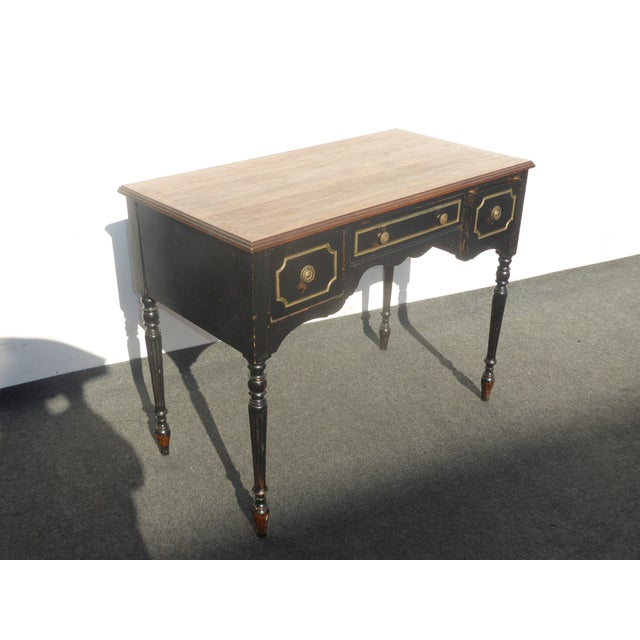 Vintage French Provincial Black & Gold Gilt Writing Desk For Sale In Los Angeles - Image 6 of 11