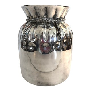 Mexican Silver Champagne Bottle Cooler, Rope Decor For Sale