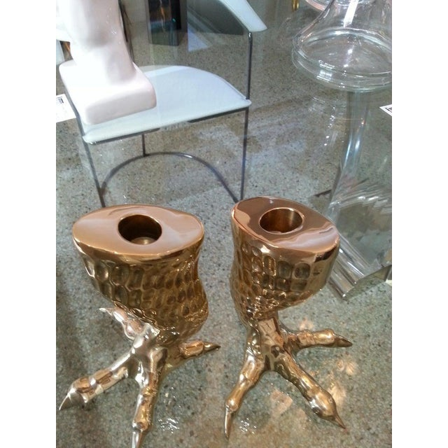 Brass Eagle Talon Candlesticks 1960s Italy - a Pair For Sale In West Palm - Image 6 of 11