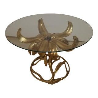 Vintage Arthur Court Gilt Lily Glass Top Side Table