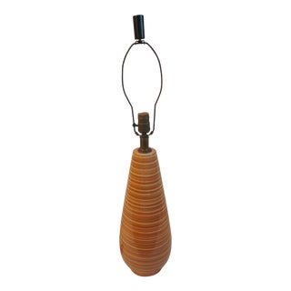 Mid-Century Modern Orange and Brown Striped Ceramic Table Lamp For Sale