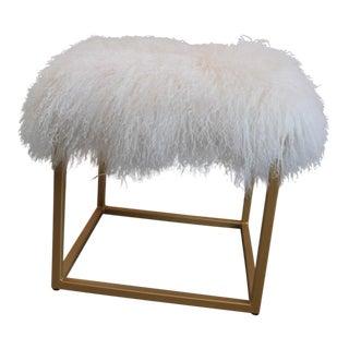 Moss Studios White Mongolian Fur Ottoman For Sale