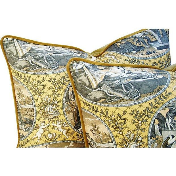 Designer Scalamandre Cupido Toile Pillows - Pair - Image 6 of 7