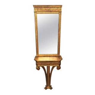 Jansen Style Italian Classical Greek Key Design Console With Mirror