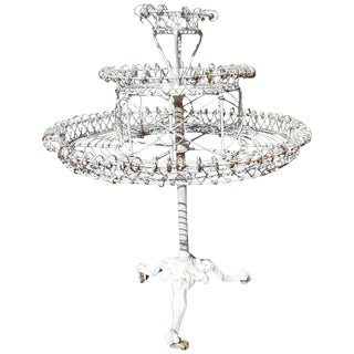 Plant Stand Revolving Cast Iron and Wire Antique For Sale