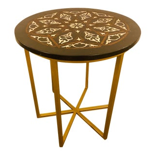 Moroccan Brass Side Table For Sale