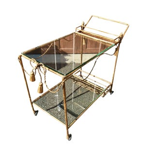 1960s Italian Neoclassical Style Gilt Metal Bar Cart For Sale