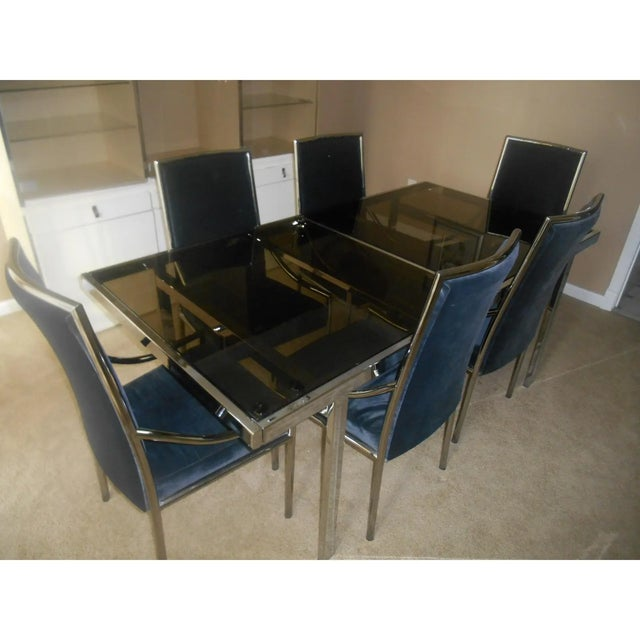 Mid-century modern chrome & glass expandable dining table set Step back in time to the 1970's. I have a fantastic mid-...