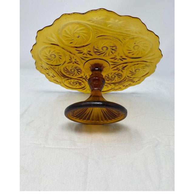 Amber Glass Patisserie Stand For Sale - Image 4 of 7