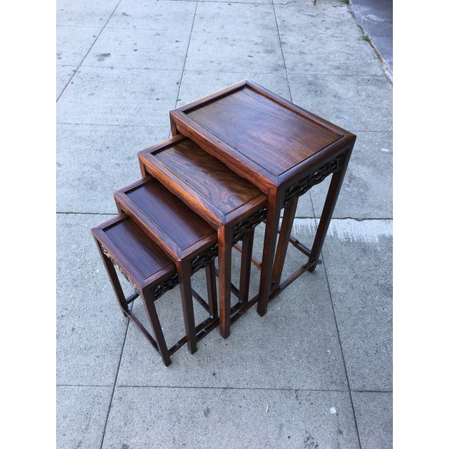 20th Century Chinese Rosewood Nesting Tables - Set of 4 For Sale - Image 11 of 12
