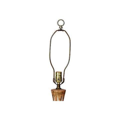 1960s Vintage Cream & Brown Lamp - Image 5 of 5