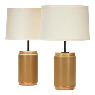 Porter Lamps in Faun Glaze - a Pair For Sale