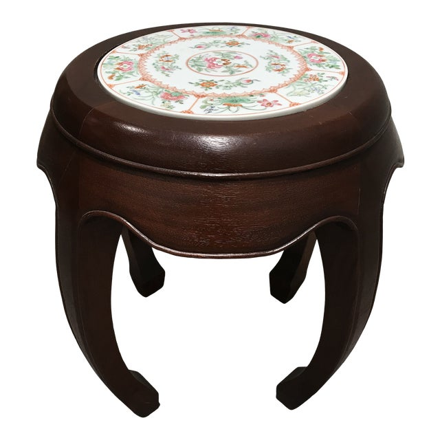 Curved Wood Stool With Porcelain Inset For Sale
