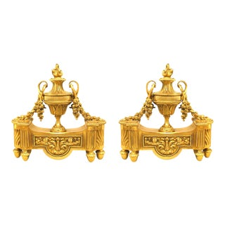 Louis XVI Bronze Urn Andirons - a Pair For Sale
