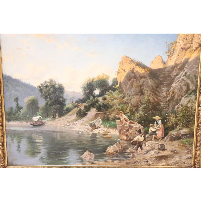 19th Century Antique Italian Oil Painting on Canvas Impressionist Landscape For Sale - Image 4 of 9