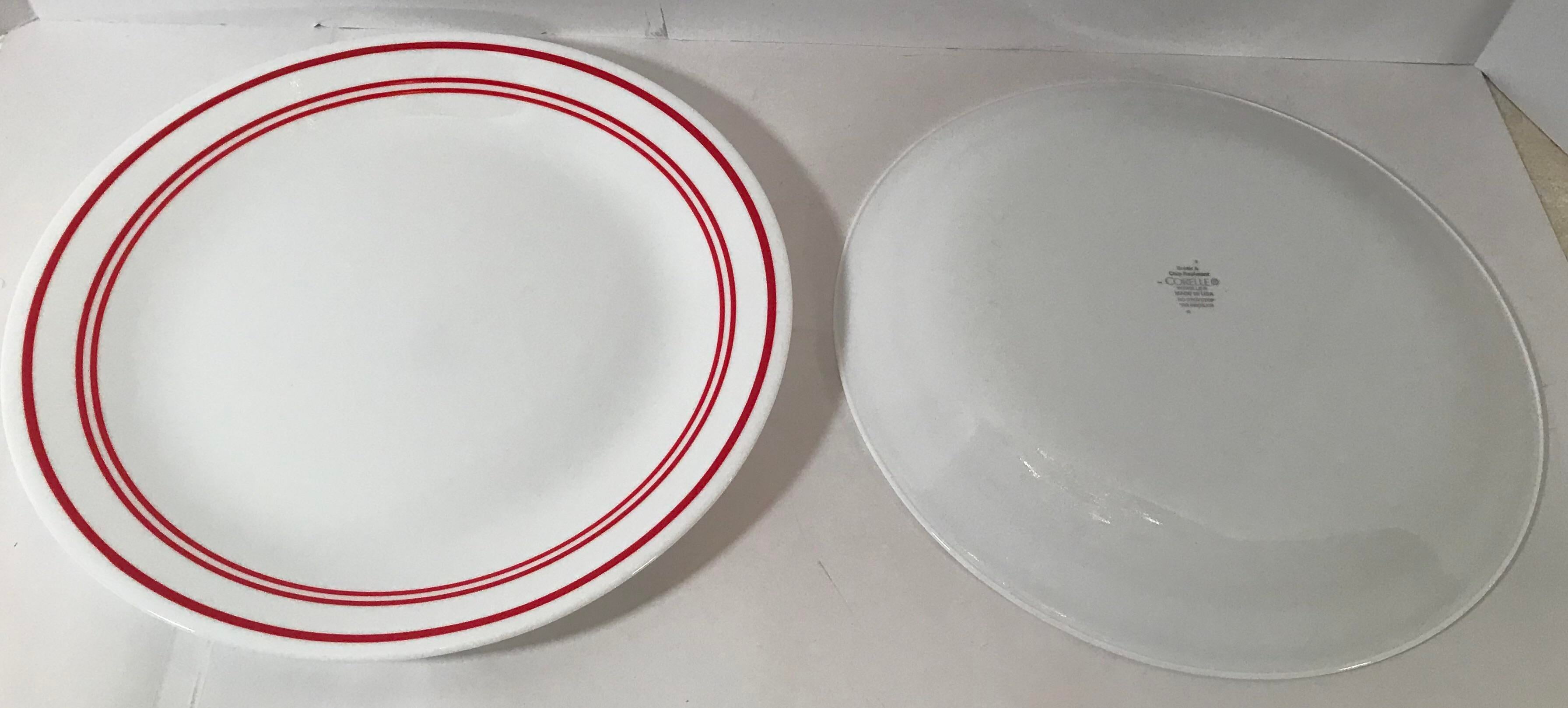 Vintage Red Stripe u0026 White Corelle Dinnerware -Set of 14 - Image 9 of 11  sc 1 st  Chairish & Vintage Red Stripe u0026 White Corelle Dinnerware -Set of 14   Chairish