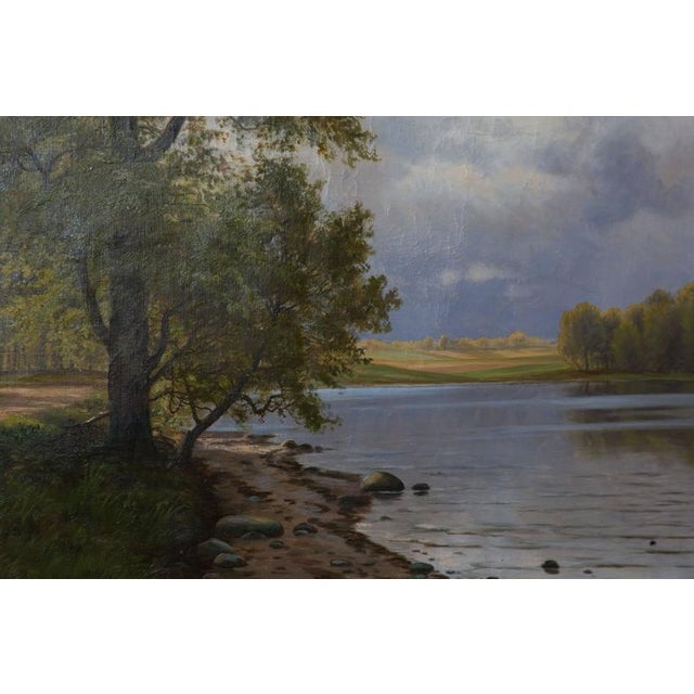 European Landscape Painting Oil on Canvas For Sale In West Palm - Image 6 of 7