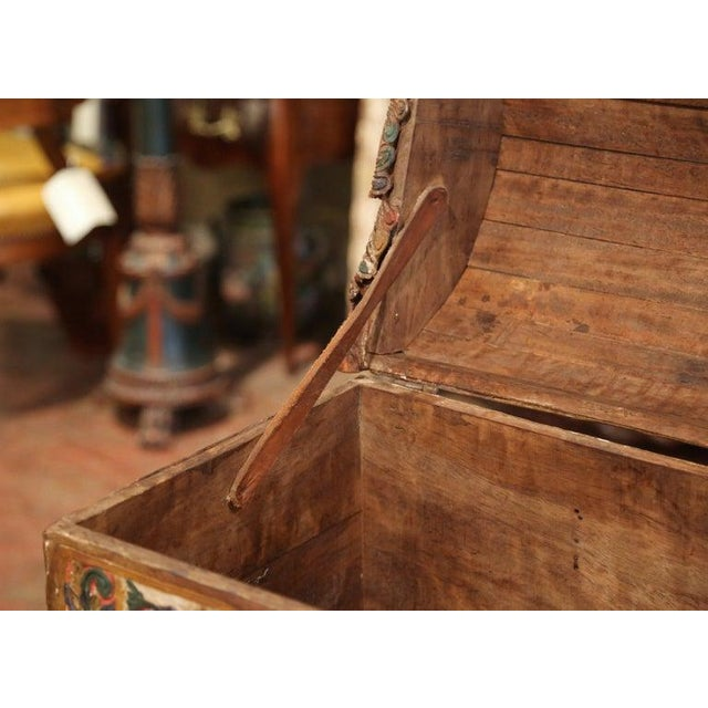 18th Century German Gothic Painted Decorative Bombe Box Wedding Trunk For Sale - Image 12 of 13