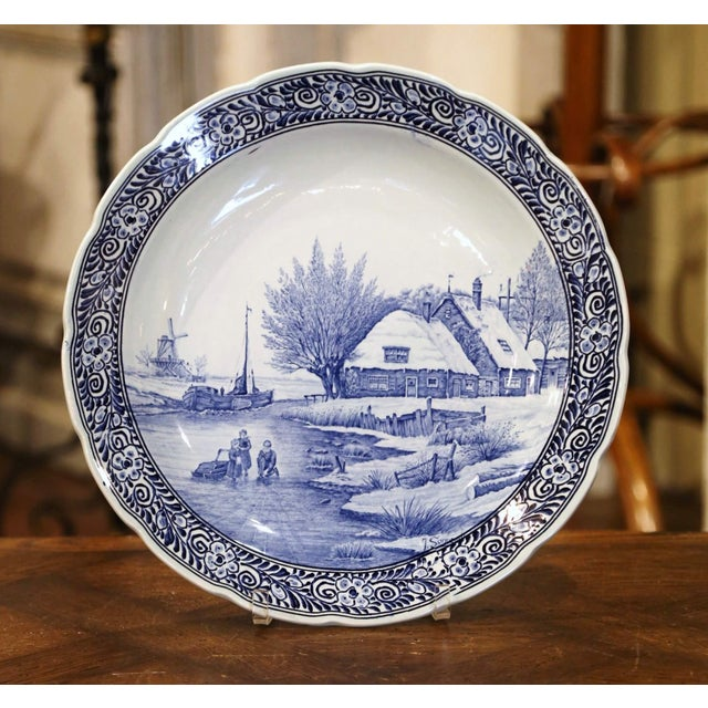 Mid-Century Dutch Hand Painted Royal Sphinx Maastricht Delft Platter For Sale - Image 11 of 11