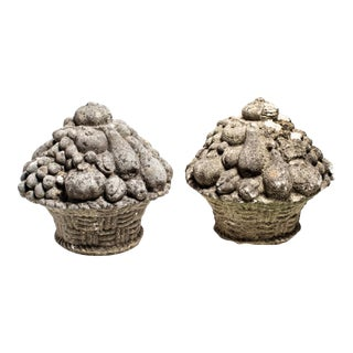 English Flower Basket Stone Garden Ornaments For Sale
