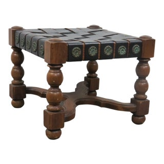 Spanish Revivial Oak & Leather Footstool For Sale