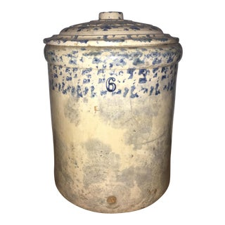 19th Century Antique Spongeware Pottery Crock With Lid For Sale