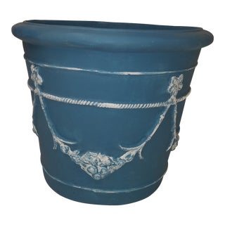 Large Garland and Rope Fiberglass Planter Painted French Blue and White For Sale