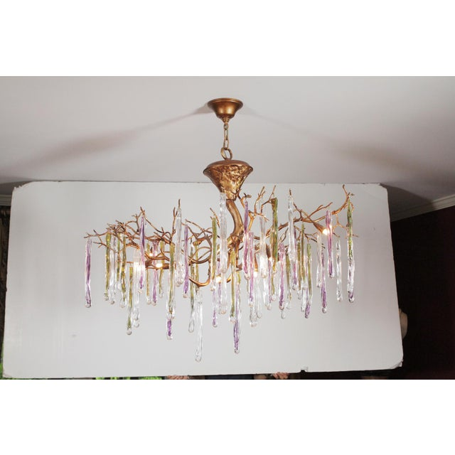 Modernist Gilt Bronze and Colorful Art Glass Chandelier For Sale - Image 12 of 12