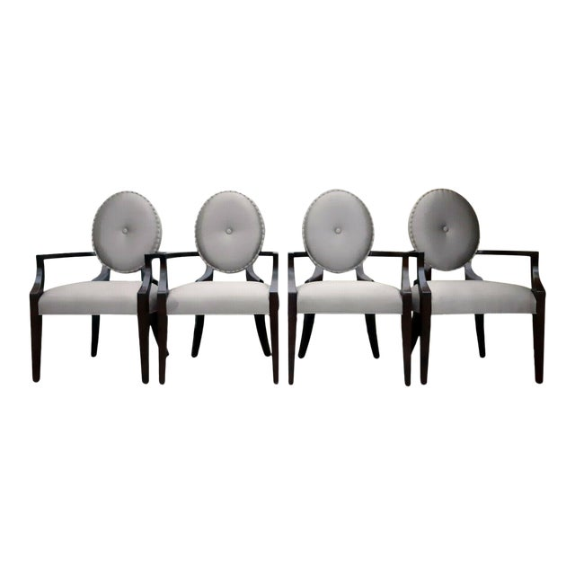 Bernhardt Jet Set Center Button Tufting Arm Chairs - Set of 4 For Sale
