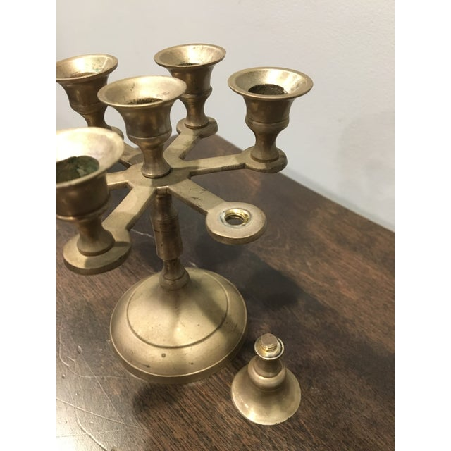 Religious Industrial Style Circular Brass 7 Candle Candelabra (Small) For Sale - Image 9 of 12