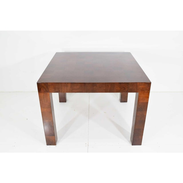 Contemporary Milo Baughman Burl Wood Parquet Card or Dining Table For Sale - Image 3 of 13