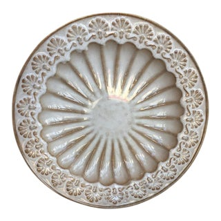 Large Shell Motif Ceramic Plate With Iron Stand For Sale