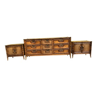 Stanley Furniture Mid-Century Faux Bamboo Dresser & Nightstands - 3 Pieces For Sale